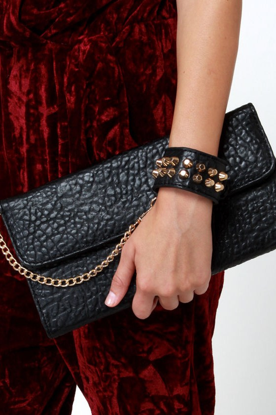Just Can't Lose Studded Black Clutch at Lulus.com!
