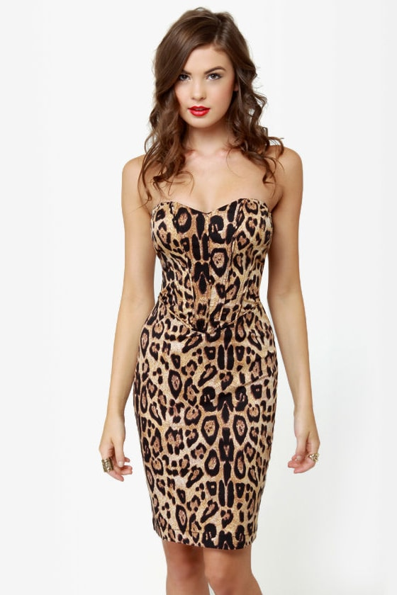 Tripp NYC Fitted Leopard Print Dress
