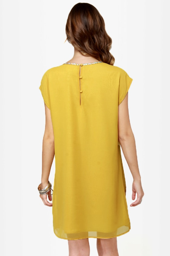 Let the Sunshine In Beaded Yellow Dress at Lulus.com!