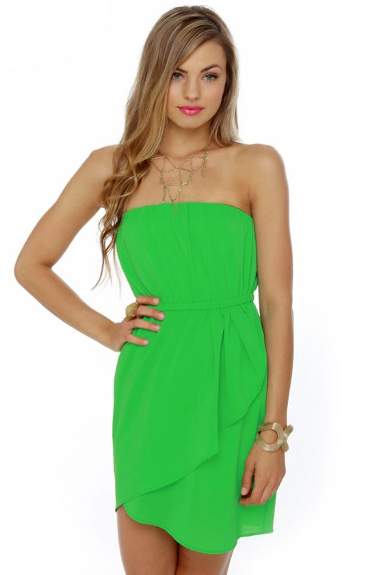 Cute Green Dress - Strapless Dress - Casual Dress - $38.00