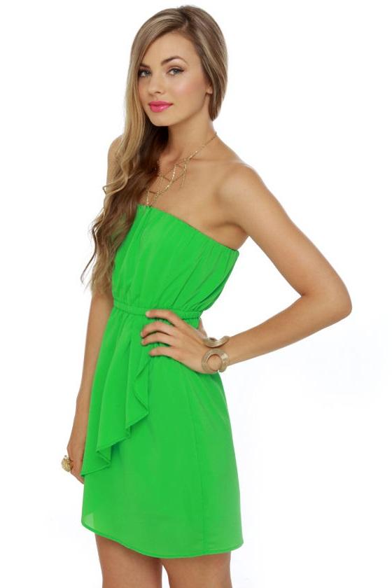 Strapless Green Dress