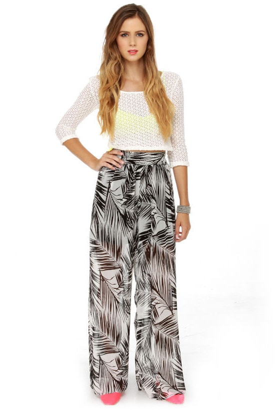 Tropical Print Pants - Wide Leg Pants - Sheer Pants - Black and ...