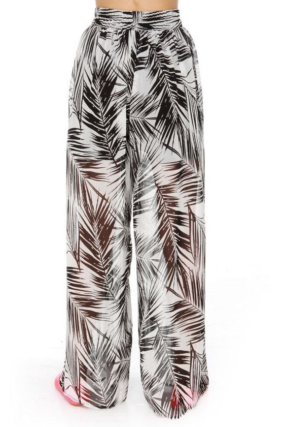 The Fronds Print Wide Leg Pants