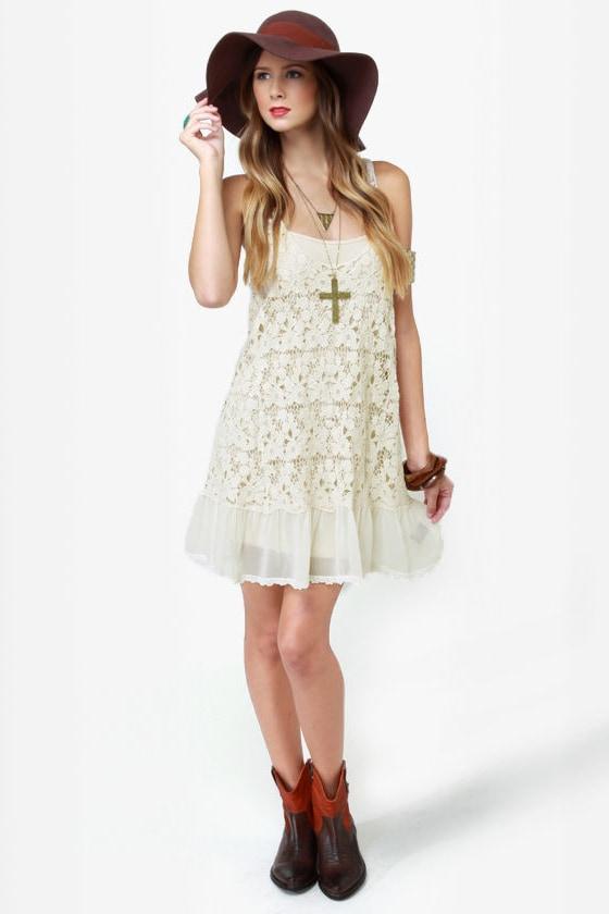 Black Sheep Star Gazer Cream Crochet Dress