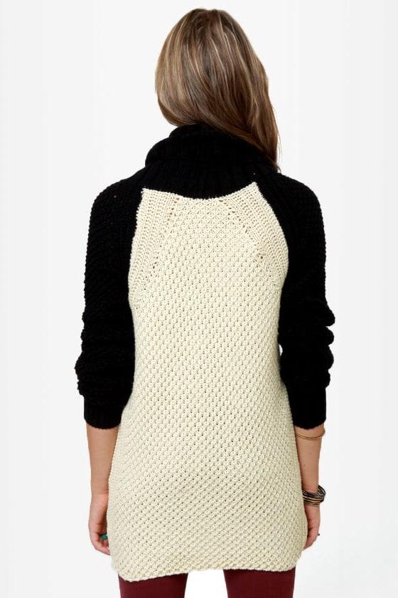 Black Sheep Beatnick Black and Cream Cowl Neck Sweater