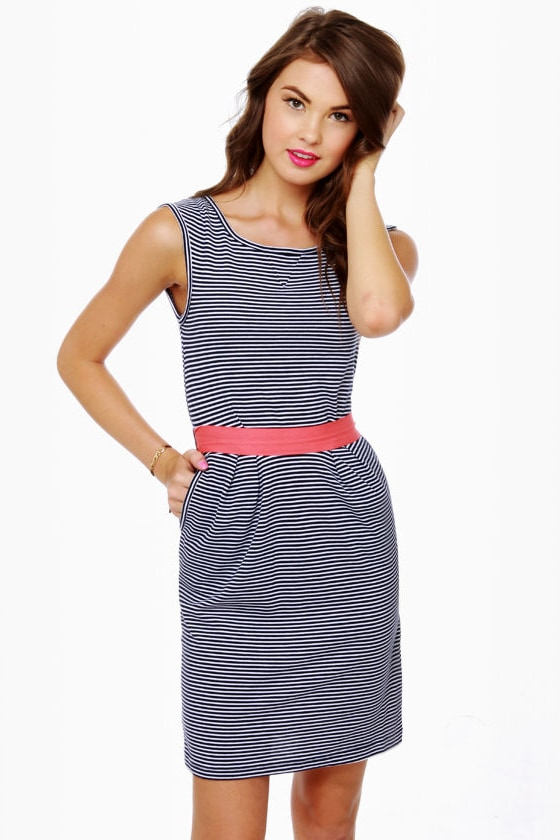 Lost Maude Navy Blue and White Striped Dress