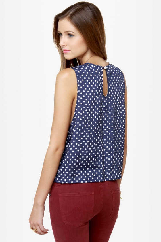 Collar-ship Award Navy Blue Polka Dot Tank Top at Lulus.com!