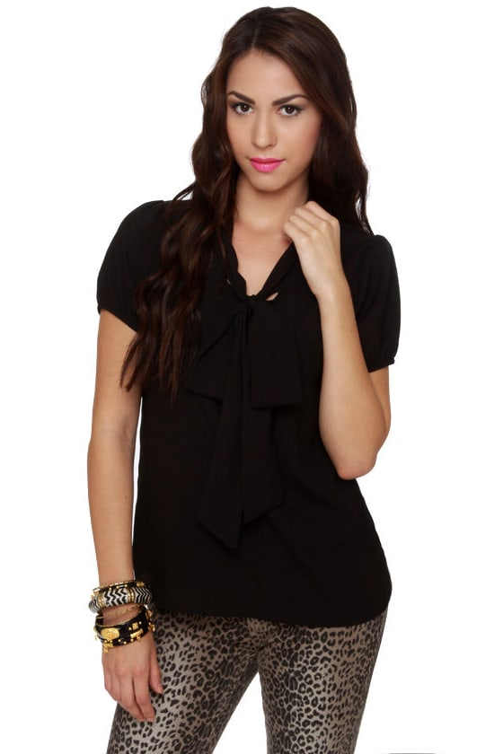 Final Answer Short Sleeve Black Top