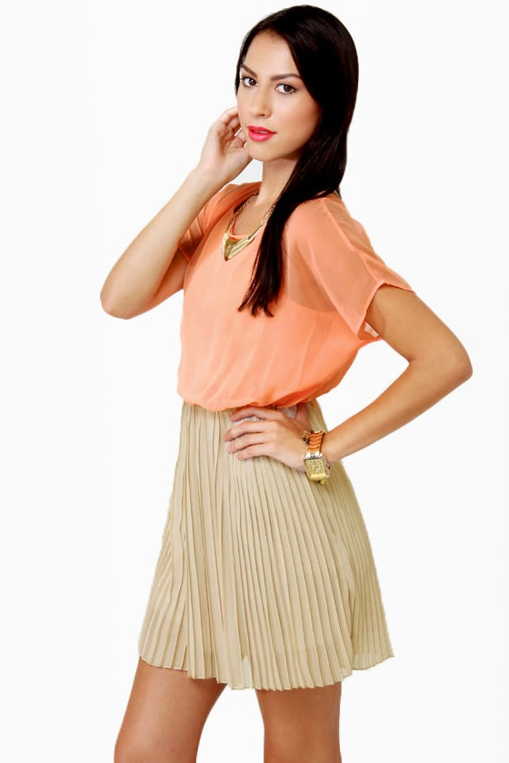 Waffle Cone Taupe and Peach Dress