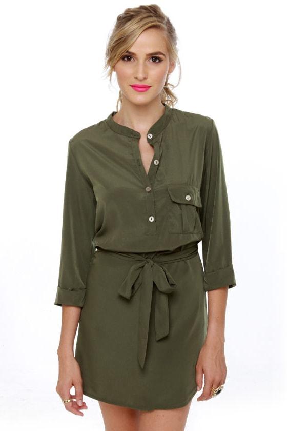 Break Room Beauty Olive Green Dress