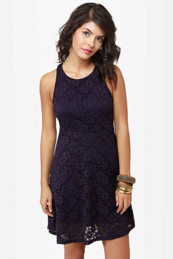 Glitz About You Navy Blue Glitter Lace Dress at Lulus.com!