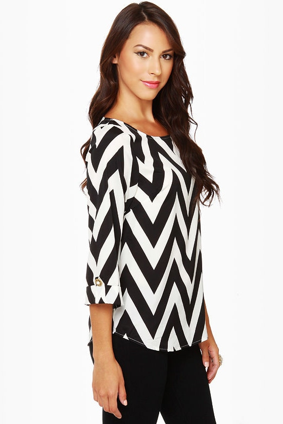 Zaggety Ann Black and Ivory Top at Lulus.com!