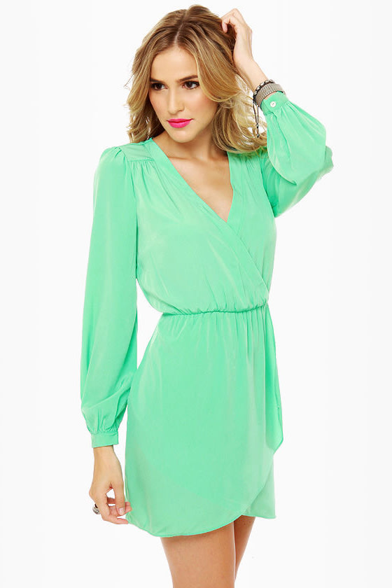 Cute Mint Green Dress - Wrap Dress - Long Sleeve Dress - $49.00