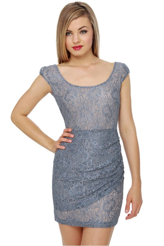 Lovely Slate Blue Dress - Lace Dress - $46.00