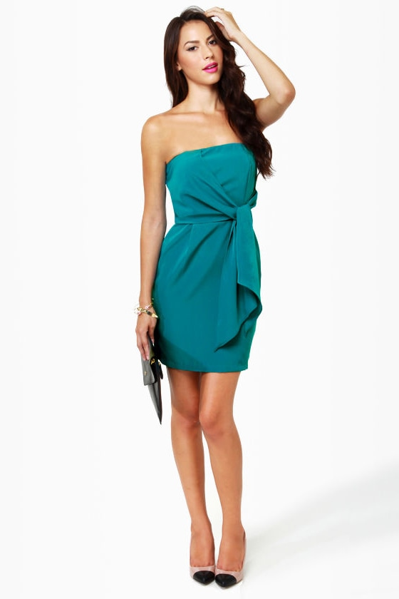 Sash-lee Simpson Strapless Teal Dress