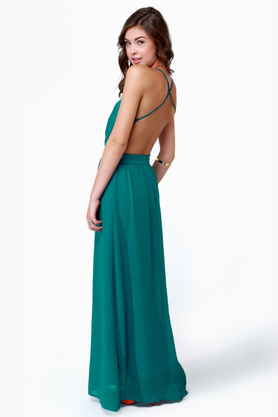 Rooftop Garden Backless Teal Maxi Dress