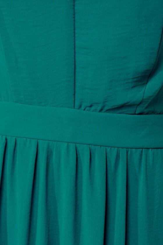 Rooftop Garden Backless Teal Maxi Dress