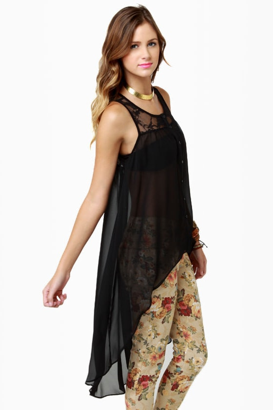Tailspin High-Low Black Top at Lulus.com!