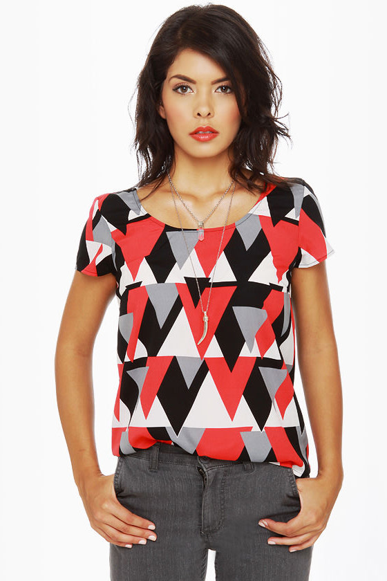 Pointer Sister Short Sleeve Print Top