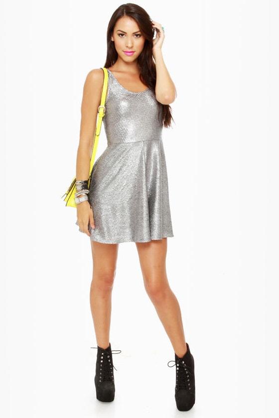 63cf0af4cb0a Cute Silver Dress - Tank Dress - Metallic Dress -  30.00