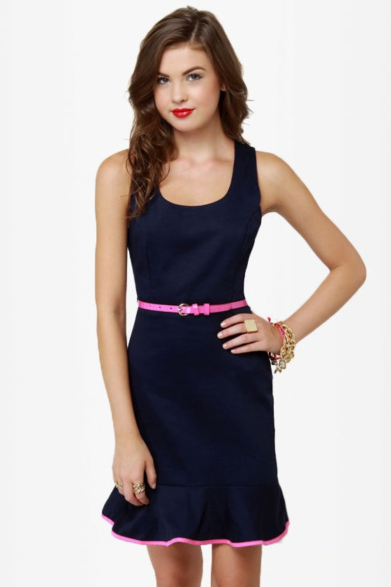 True to Form Navy Blue Dress