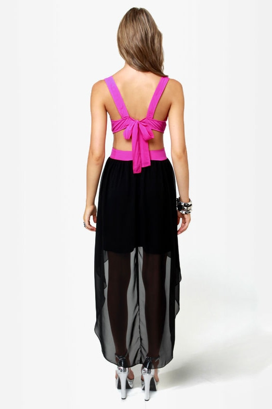 LULUS Exclusive Get My Drift Fuchsia and Black Dress at Lulus.com!