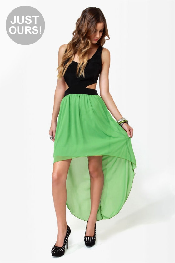 Get My Drift Black and Green Dress