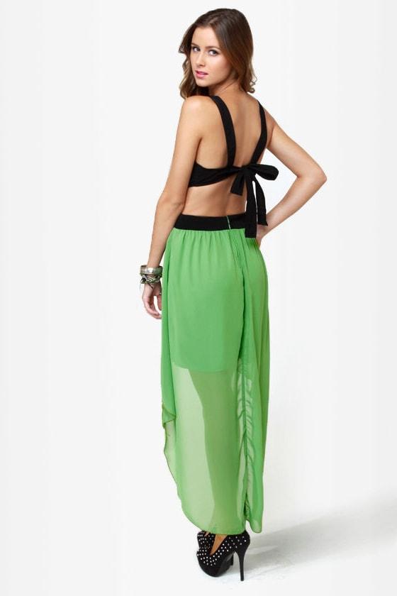 Get My Drift Black and Green Dress