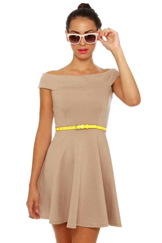 Mid-Century Marvel Beige Dress at Lulus.com!