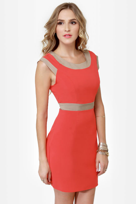 Double Exposure Coral Orange Dress