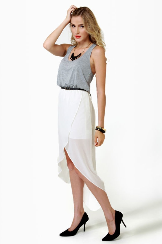 Study Hall Grey and Ivory Dress at Lulus.com!
