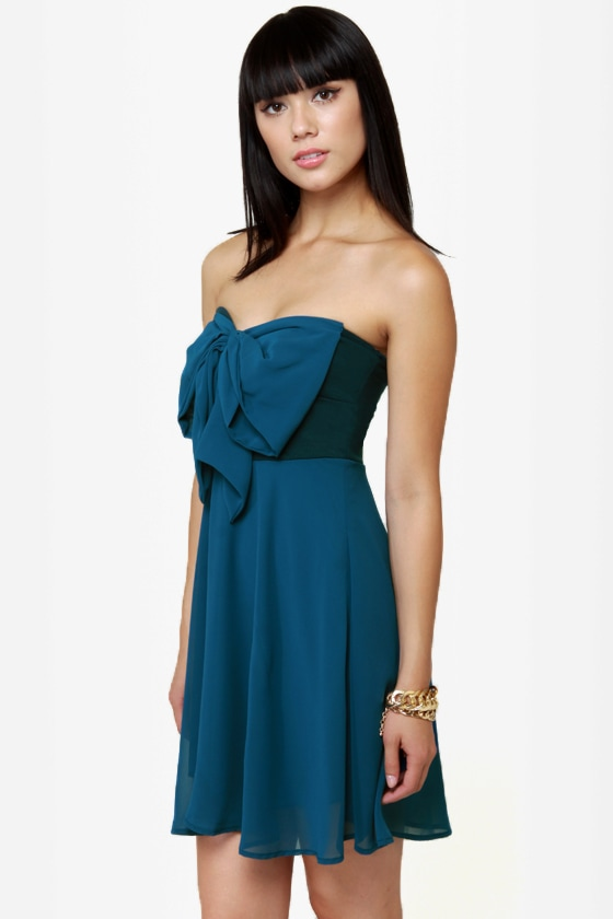 Madame Bow-vary Strapless Blue Dress at Lulus.com!