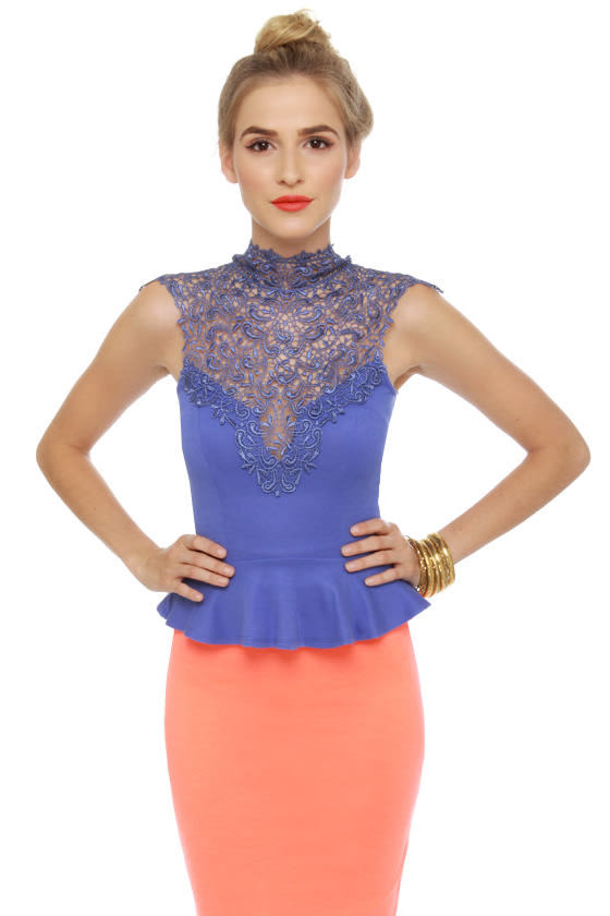 Long Story Short Lace Periwinkle Blue Top at Lulus.com!