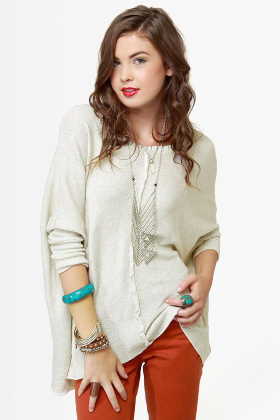Black Sheep Melody Heather Grey Sweater at Lulus.com!