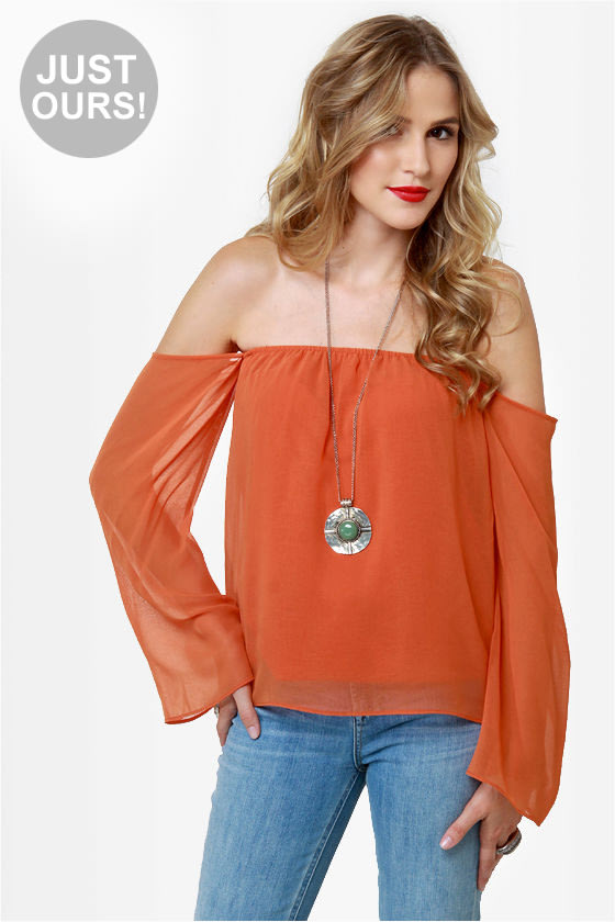 3dde052a137323 Sexy Off-the-Shoulder Top - Orange Top - Burnt Orange Top -  32.00