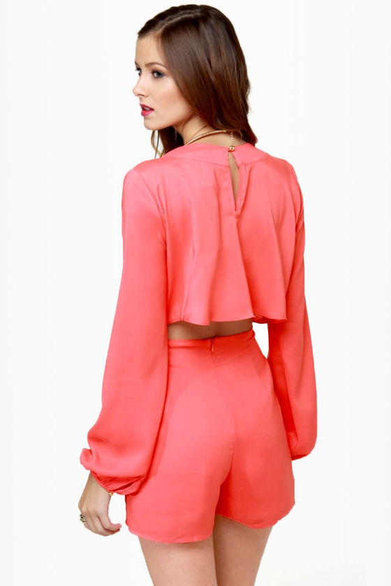 Have a Look-See Coral Romper at Lulus.com!