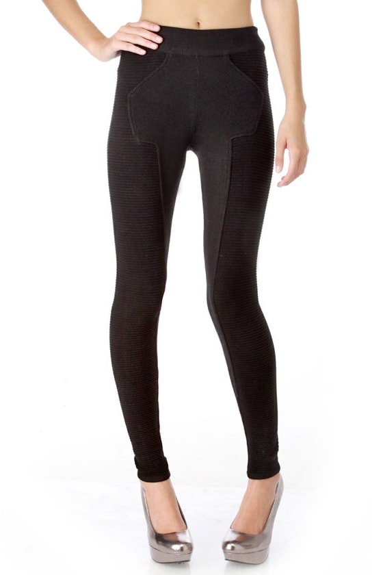 Asteroid Path Black Leggings
