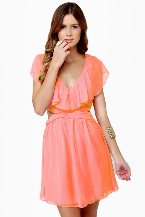 Ruffle, Shuffle, and Roll Coral Pink Dress at Lulus.com!