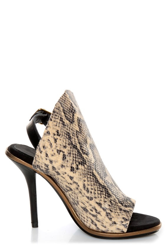 Kelsi Dagger Cameo Natural Black Leather Snakeskin Heels
