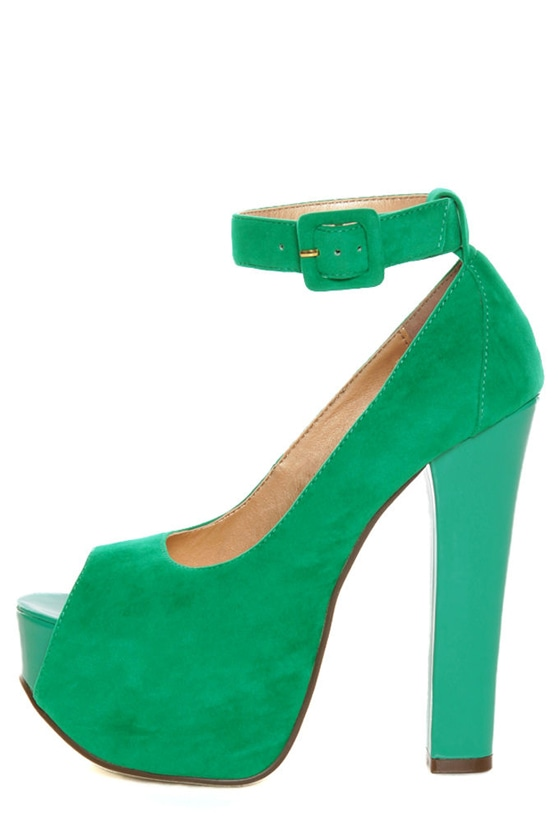 Luichiny More of It Aqua Suede Platform Peep Toe Pumps
