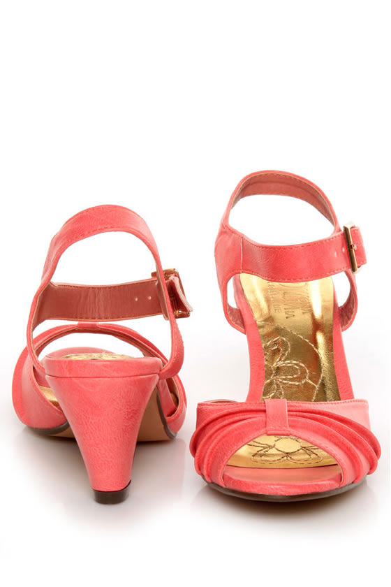Mona Mia Amparito Flamingo Pink Ruched Peep Toe Kitten Heels at Lulus.com!