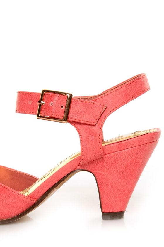 Mona Mia Amparito Flamingo Pink Ruched Peep Toe Kitten Heels