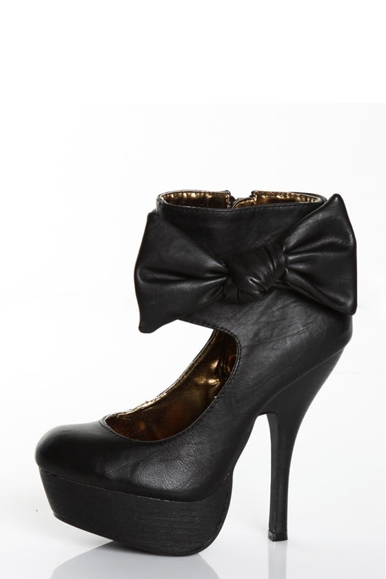 Miss Me Perch 12 Black Side Show Platform Heel Booties