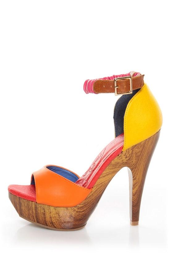 Mona Mia Trinidad Multi Color Block Platform Heels