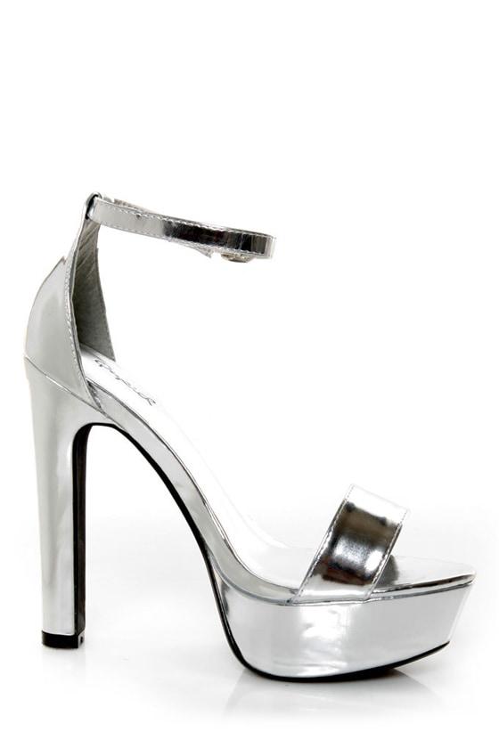 Silver Metallic Platform Heels