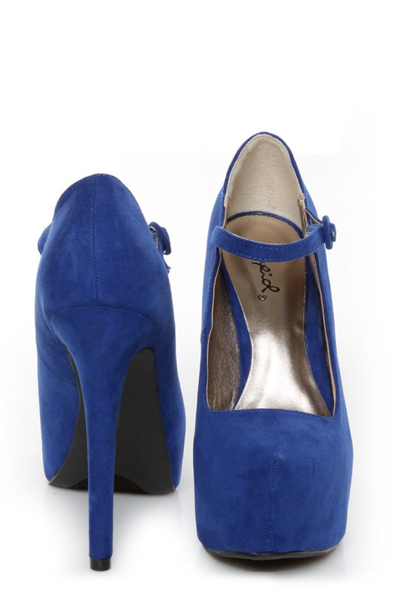 Qupid Marquise 02 Cobalt Blue Suede Platform Pumps at Lulus.com!