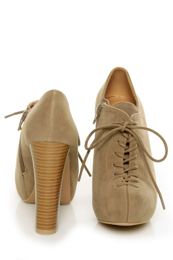 Qupid Theron 03 Taupe Suede Lace-Up Ankle Booties