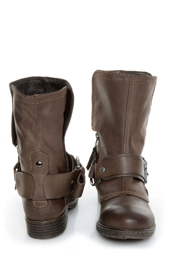 Report Woods Dark Brown Belted Convertible Motorcycle Boots at Lulus.com!