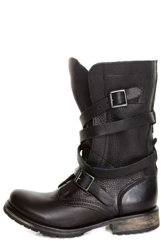 Steve Madden Banddit Black Leather Slouchy Belted Combat Boots ...