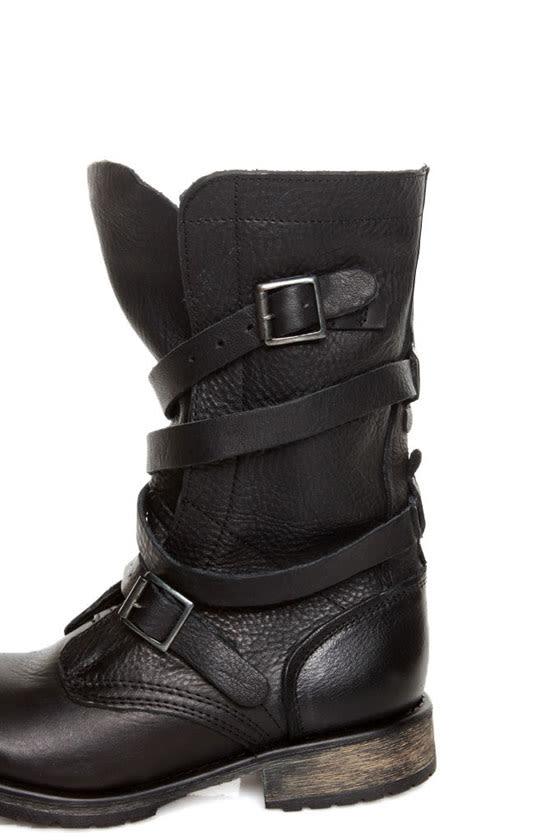 steve madden banddit black leather slouchy belted combat